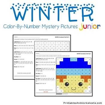Winter Math Place Value Worksheets Color-By-Number Code