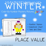 Winter Place Value Coloring Sheet, Standard, Word Form, Counting Tens, Ones