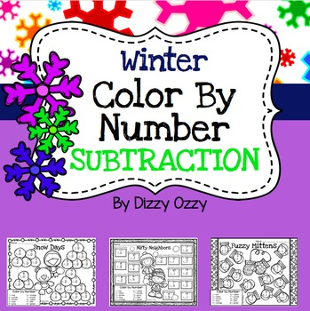Winter Color By Number SUBTRACTION to 10