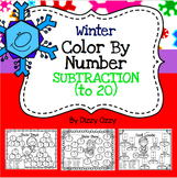 Winter Color By Number SUBTRACTION to 20