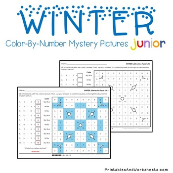 Winter Math Subtraction Worksheets, Mystery Pictures Coloring Sheets