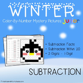 Mystery Picture, Subtraction Facts Winter Math Coloring Worksheets