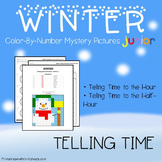 Winter Telling Time Coloring Worksheets, Mystery Picture Math Activity