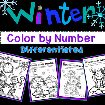 Winter Color By Number with Addition and Subtraction Numbers 1-15