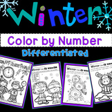 Winter Color By Number (1-10; add and subtract 1-10; add and subtract 11-20)