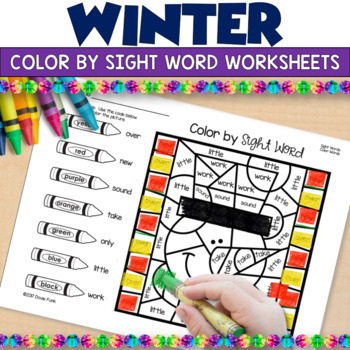 Winter Color By Sight Word Worksheets January Morning Work