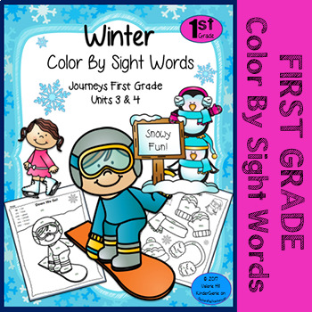 Winter Color By Sight Words - First Grade - Journeys Units 3 & 4 and ...