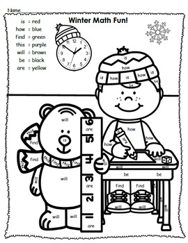 Winter Color By Sight Words - Kindergarten - Journeys Units 3 & 4 and Dolch