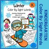Winter Color By Sight Words - Kindergarten - Journeys Unit