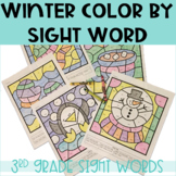 Winter Color By Sight Words for 3rd Grade