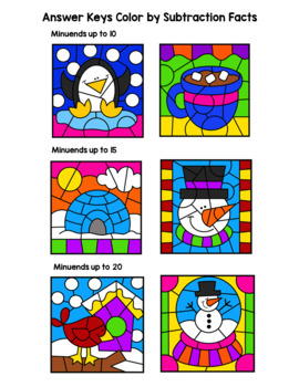 Winter Color By Subtraction Facts: Minuends up to 10, 15, & 20
