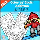 Winter Color by Number Addition FREE