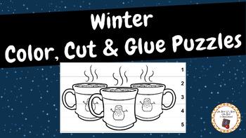 Winter Color, Cut & Glue Puzzles