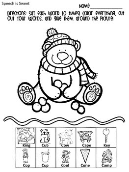 Winter Articulation Activities: Early Developing Sounds