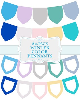 """Winter Color Pennants - 20-Pack - 8.5"""" x 11"""""""