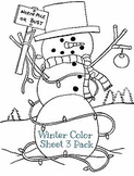 Christmas Winter Holiday Color Sheet 3 Pack