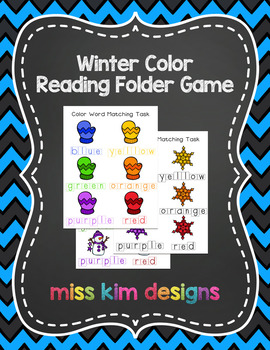 Winter Color Word Reading Folder Game for Early Childhood
