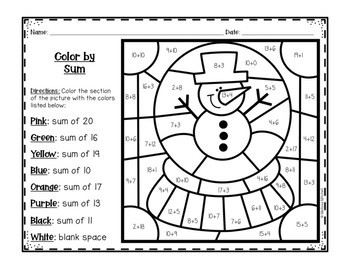 Winter Color by Addition and Subtraction