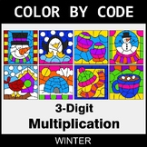 Winter Color by Code - 3-Digit Multiplication