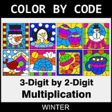 Winter Color by Code - 3-Digit by 2-Digit Multiplication