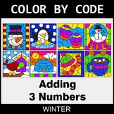 Winter Color by Code - Adding 3 Numbers