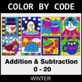 Winter Color by Code - Addition & Subtraction (0-20)