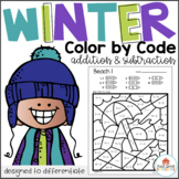 Color by Code Winter Addition and Subtraction