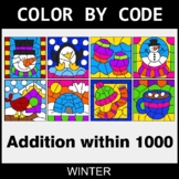 Winter Color by Code - Addition within 1000