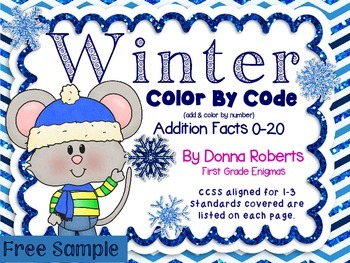 Winter Color by Code Color by Answers Basic Addition Facts 0-10 Freebie