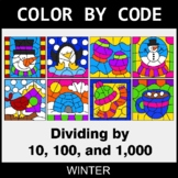 Winter Color by Code - Dividing by 10, 100, and 1,000