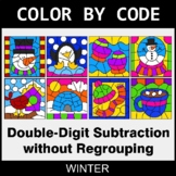 Winter Color by Code - Double-Digit Subtraction without Re