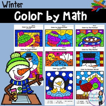 Winter Color by Code Math Activities