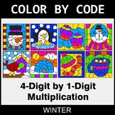 Winter Color by Code - Multiplication: 4-Digit by 1-Digit