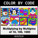 Winter Color by Code - Multiplying by Multiples of 10, 100, 1000