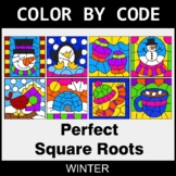 Winter Color by Code - Perfect Square Roots