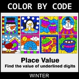 Winter Color by Code - Place Value of Underlined Digit