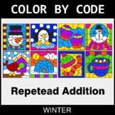 Winter Color by Code - Repeated Addition
