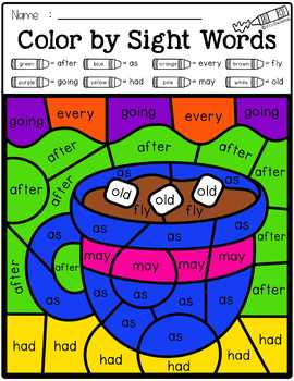 Winter Color by Code -Sight Words First Grade