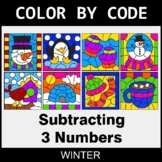 Winter Color by Code - Subtracting 3 Numbers