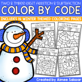 Winter Color by Code - Two-Digit and Three-Digit Addition and Subtraction