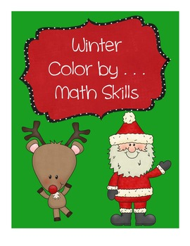 Christmas and Winter Color by Number | Math Center | Math Worksheets | No Prep