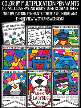 Winter Color by Multiplication Activities Teach- Go Pennants™
