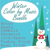 Winter Music Coloring Pages | Color by Note and Symbol | Bundle