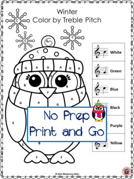 Color By Music Note: 26 Winter Music Coloring Pages