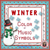 Winter Music Coloring Sheets: 26 Winter Color by Music Notes Pages
