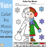 Winter Music Coloring Pages | Color by Notes and Rests