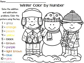 winter color by number addition subtraction within 10