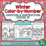Winter Color by Number, Addition & Subtraction Within 10