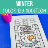 Winter Color by Number Addition Worksheets
