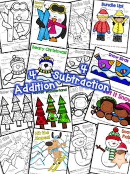 Color by Number Addition and Subtraction to 10 Winter Edition